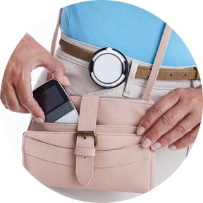Remodulin SC pump can clip on your belt or fit in your pocket. The small wireless remote can also fit in your pocket or stow in a purse